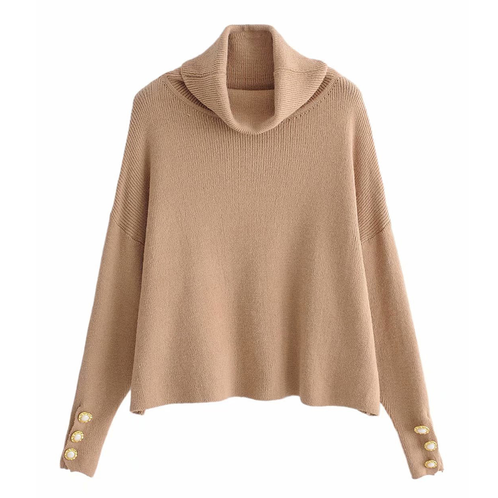 Women's Chic Sweaters With Button Turtleneck Pullovers Long Sleeve Casual Knitting Sweaters Woman Tops Short Sweater SW032