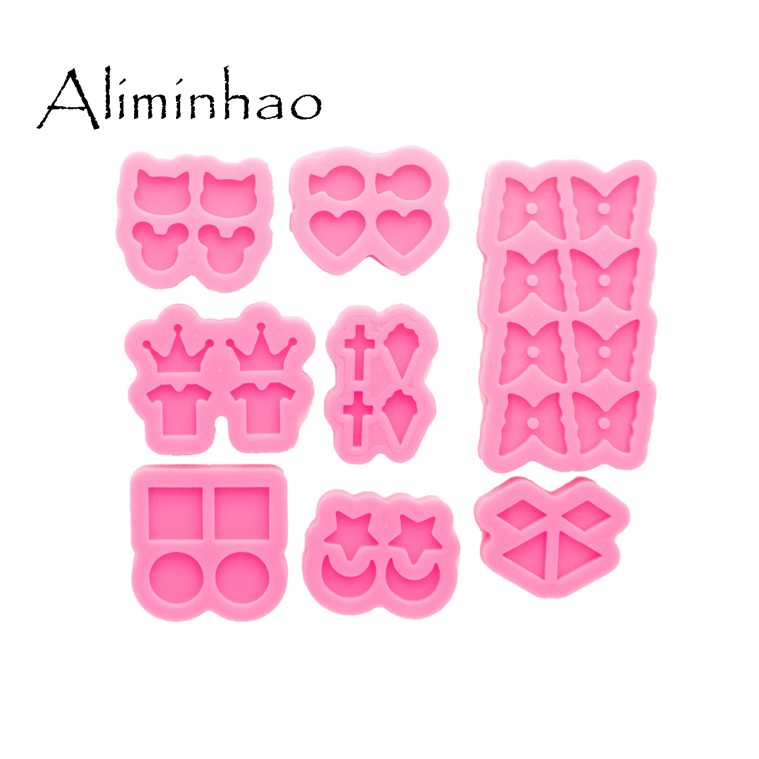 DY0890 Glossy Mini Star/Moon/Mouse/Crown/Heart/Circle Earrings Silicone Mold, Epoxy Resin DIY Craft Jewelry Tool