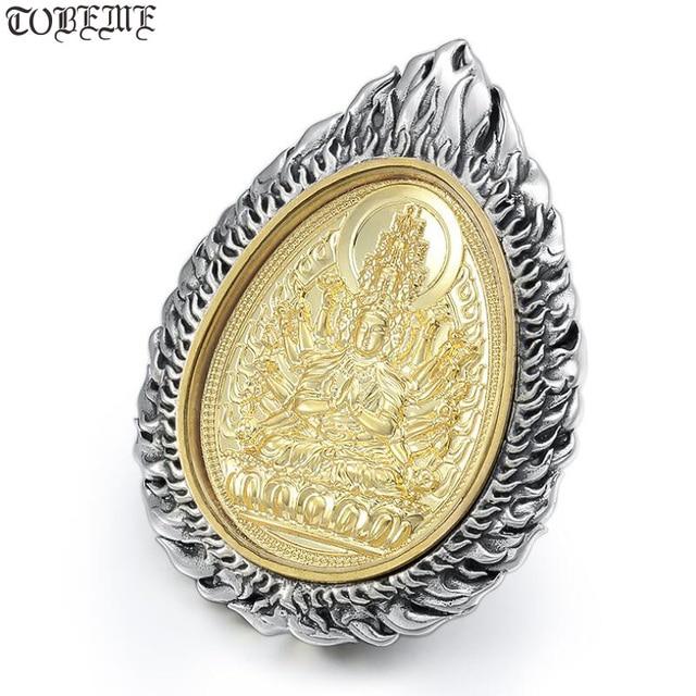 Büyük 925 gümüş sekiz buda heykeli kolye 925 ayar budist buda muska kolye 12 hayvanlar iyi şanslar kolye