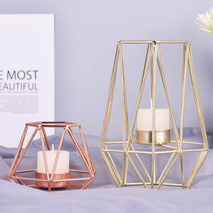 Candle-Holders Crafts Wrought-Rack Iron Geometric Desktop Metal Home-Decoration Xmas