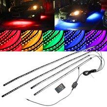 цена на 4pcs RGB LED Strip Lamp Under Car Tube Underbody System Neon Light Kit 12V Music Decoration Sound Activation