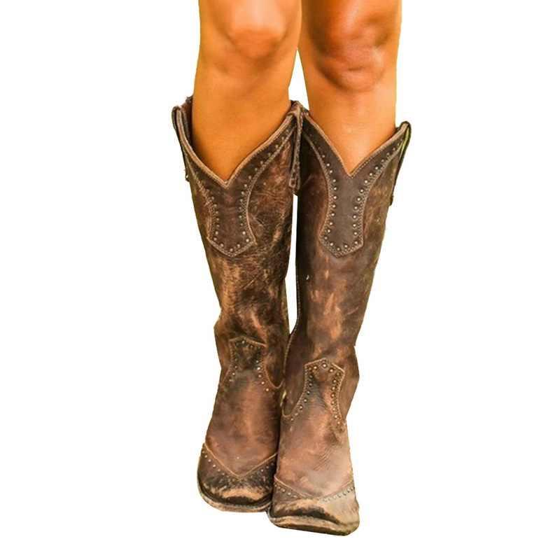 บู๊ทส์สตรี Retro Rivet เข่าสูงรองเท้าหนังทำด้วยมือยาว Booties ผู้หญิงคาวบอยสูงรองเท้าแฟชั่นรองเท้าสบายๆ