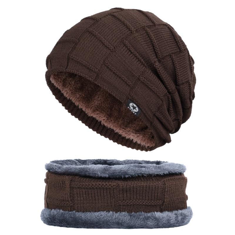 Зимняя мужская шапка с пятизвездочными звездами, шарф плюс бархатная мужская вязаная шапка, Теплая Лыжная маска, маска, головной платок, шапка, высококачественный хлопковый нагрудник, модная новинка - Цвет: Coffee-1