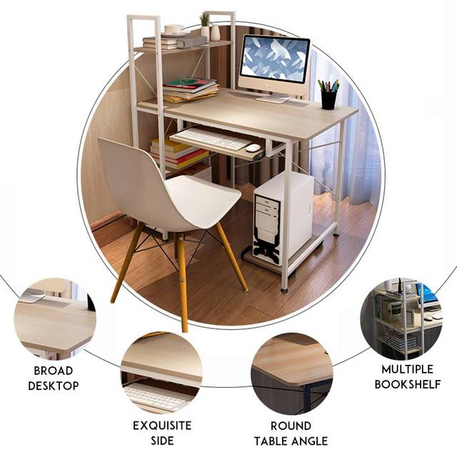 Computer Desk Table Study  w/ Bookshelf 2