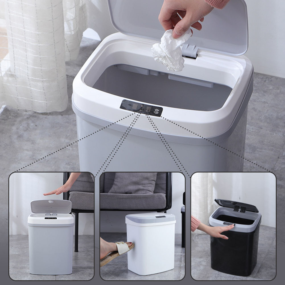 Battery Powered Home Infrared Induction Waste Bin Cover Tap Smart Kick Electric Trash Can Kitchen Durable Silence Large Capacity