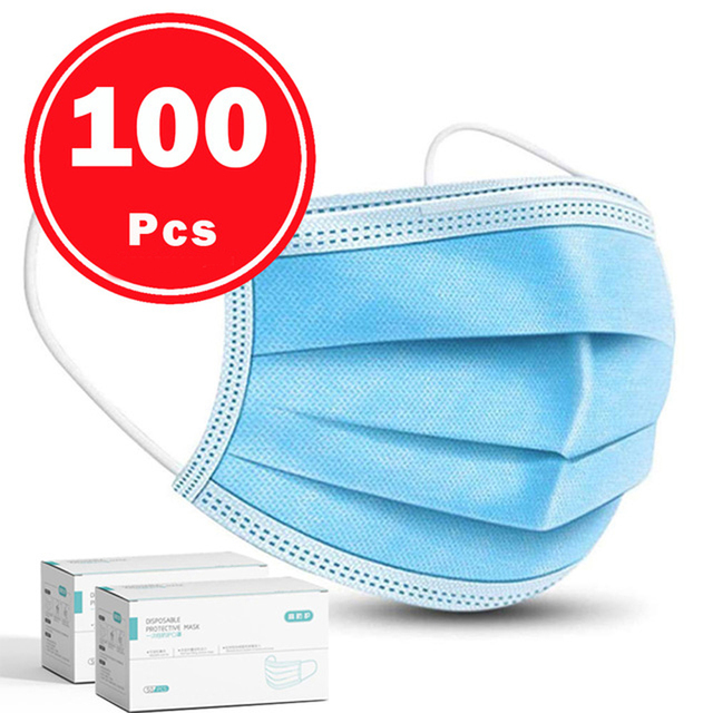 DHL 100 pcs Face Disposable Masks 3 Layers Dustproof Mask Facial Protective Cover Masks Anti-Dust Bacteria Proof Flu Face Masks