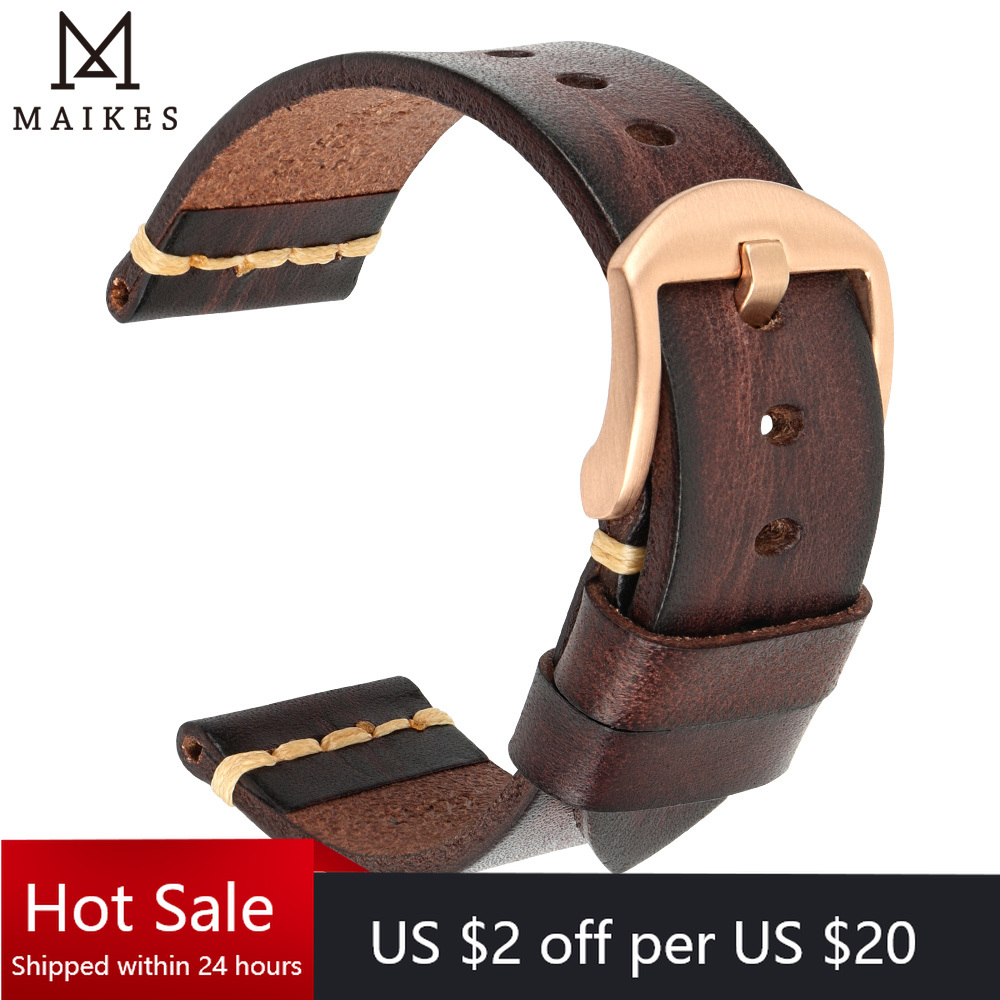 Maikes-Correa de cuero genuino para reloj Galaxy, pulsera de reloj de 18mm, 20mm, 22mm y 24mm, Tissote timx Omega