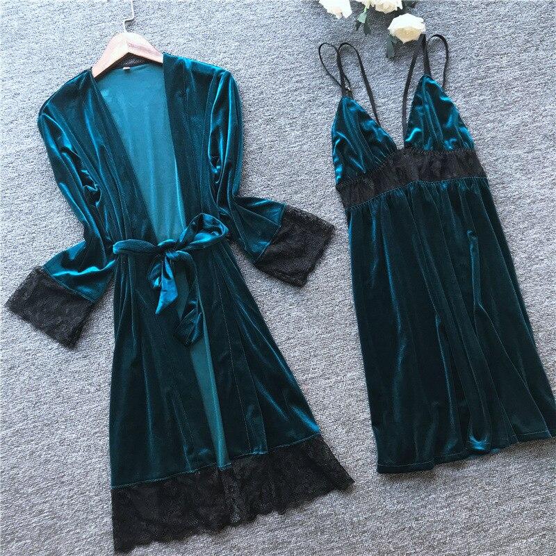 2019 autumn winter velvet robe gown set sleepwear pajamas lace sexy lingerie mini dress luxury bathrobe sleep set home clothes 25