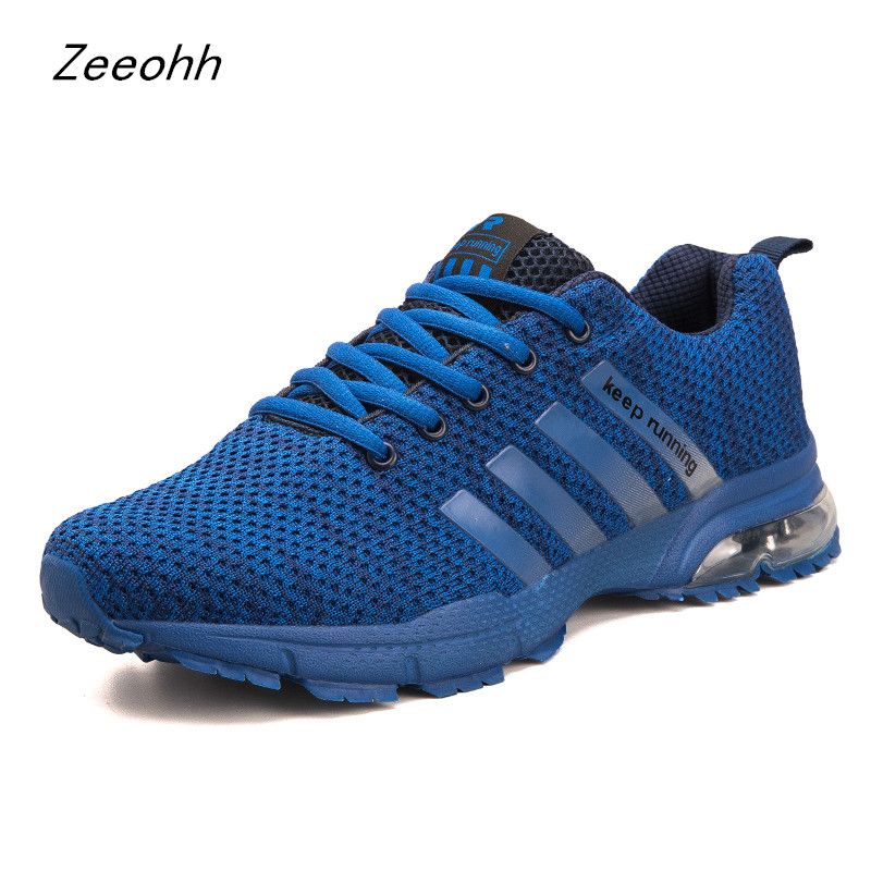 Zeeohh New Men Running Shoes Breathable Outdoor Zapatillas Hombre Jogging Sneakers Mesh Training Sport Shoes Large Size 39-46