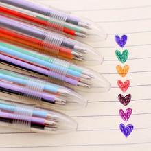Penne a sfera multicolori 6 In 1 penna a sfera multifunzione a colori per articoli di cancelleria per ufficio scolastico di personalità cheap CN (Origine) Di plastica 0 7mm Penna della scuola dell ufficio