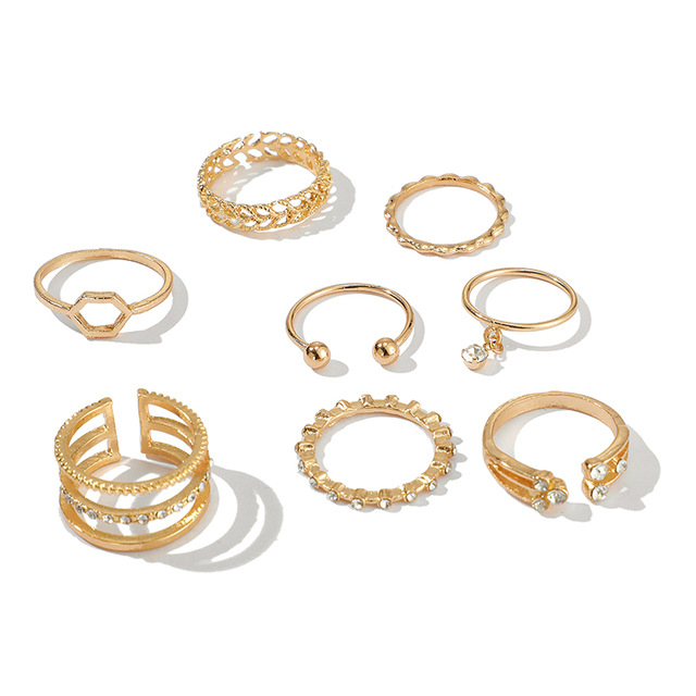 Tocona Bohemia Simple Design Gold Hollow Geometric Finger Set Multi layer Opening Knuckle Rings for Women Ladies Jewelry 9012 1
