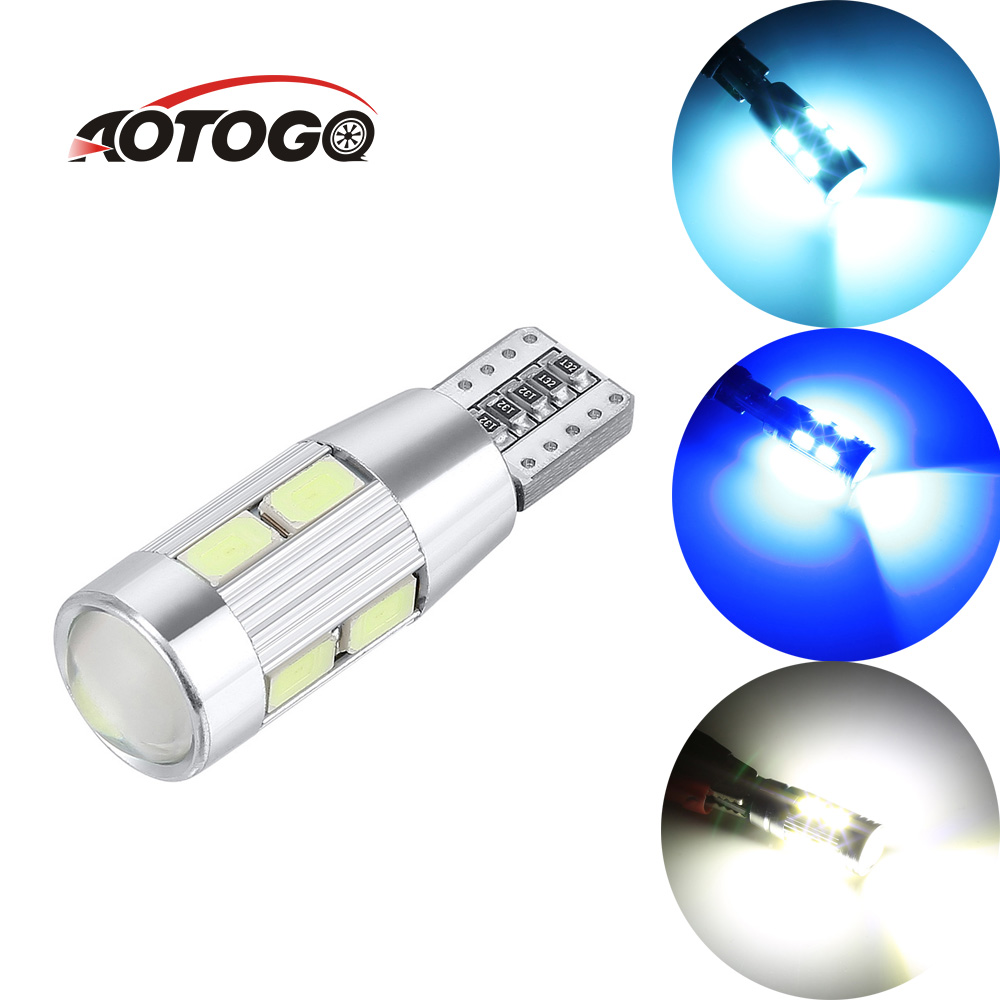 Aotogo T10 W5W 5630 10SMD Parking Lights Bulbs Auto Products Diode Lamps Car Side Wedge Light Bulb Interior Side LED