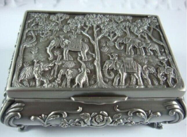 Wonderful Beautiful Tibet Silver Carved Elephant Sunflower Jewelry Box 100% Free Shipping AA44