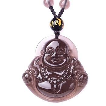 Collar de obsidiana de hielo para hombres colgante de gran vientre Buda riéndose Maitreya Buda cadena gratis regalo para mujer joyería de Jade fino