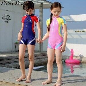 Image 1 - Crianças esporte roupa de banho 3 15t um pedaço maiô com touca de natação crianças trainning competição terno de natação meninos meninas roupas de banho