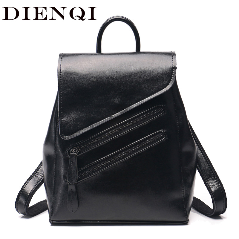 DIENQI Genuine Leather Women Backpacks 2018 Vintage Multifunction Shoulder School Bags for Teenage Girls Black Woman back pack