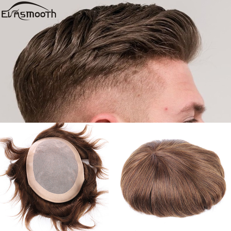 Clearance Sale 6 Inch Men Toupee Lace Front Indian Human Hair Wig Remy Hair Replacement Small Size Real Hair Piece Free Shipping