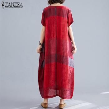 ZANZEA модные женские туфли в клетку летнее платье сарафан с короткими рукавами макси Vestidos женские повседневные платья размера плюс с круглым вырезом плед халат 4