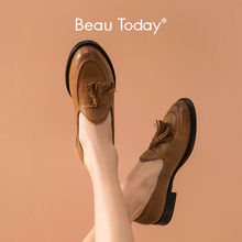 Flat-Shoes Beautoday-Loafers Handmade Genuine-Cow-Leather Women Ladies Fringes Slip-On-Style