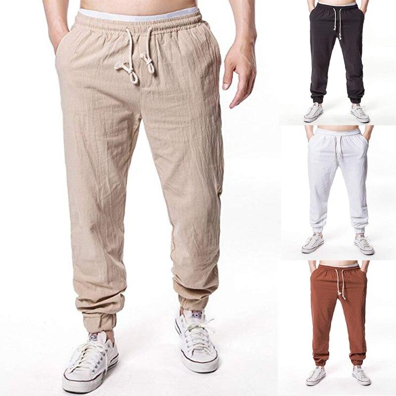 Linen Trousers Men's Sweatpants Summer For Men  Comfort Men's Pants Stretch Waist Straight Breathable Bound Foot Elastic Linen