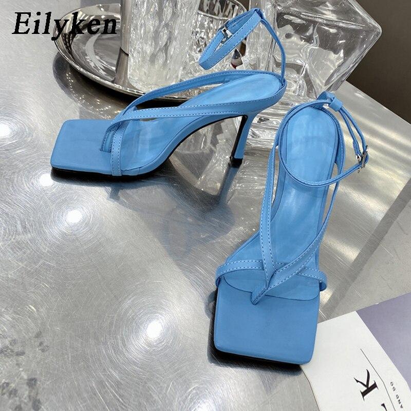 Eilyken/Модные женские босоножки на ремешке с пряжкой на лодыжке; Пикантные Летние вьетнамки с квадратным носком на высоком тонком каблуке веч...