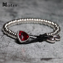 New Arrival Crystal Bracelet For Women Men Handmade Vintage Silver Thread Braslet Charm Leather Braclet Pulseira Gift Armband(China)