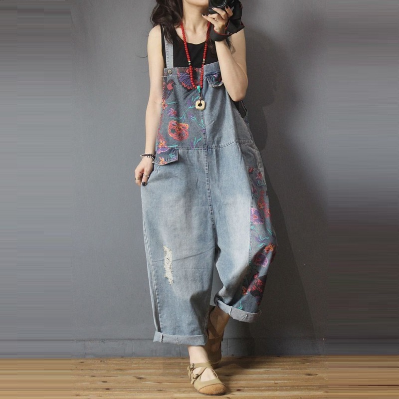 Women Clothing Denim Washed Print Rompers Vintage Overalls Women Jumpsuits Suspenders Jeans Women Overalls Fashion Rompers