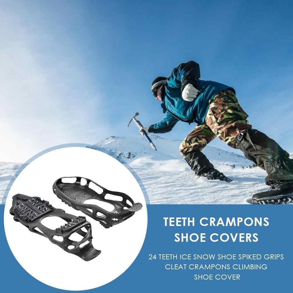 24 dientes pinza de hielo para zapatos al aire libre antideslizante escalada picos de nieve Crampons Cleats cadena garras empuñaduras botas cubierta
