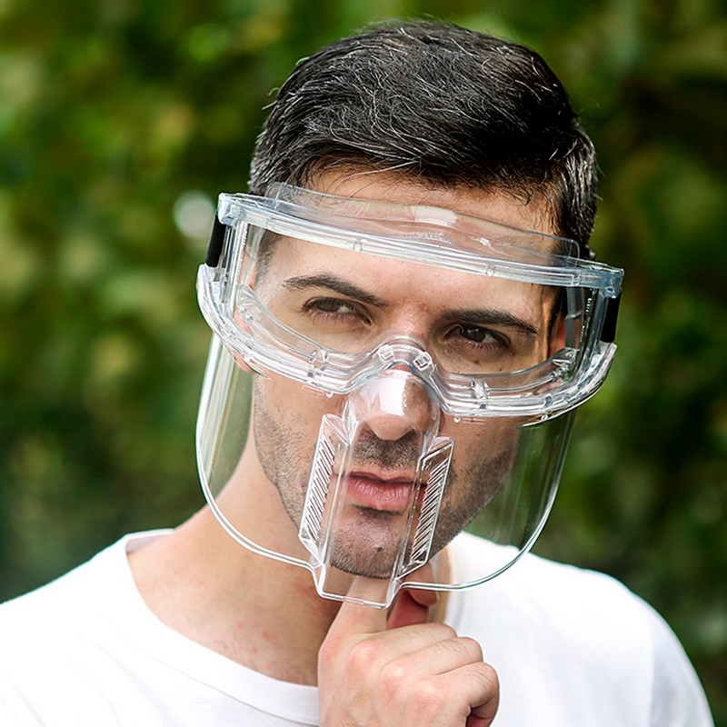 mascara de seguranca completa face lente de pc destacavel soldagem polimento a prova de poeira transparente