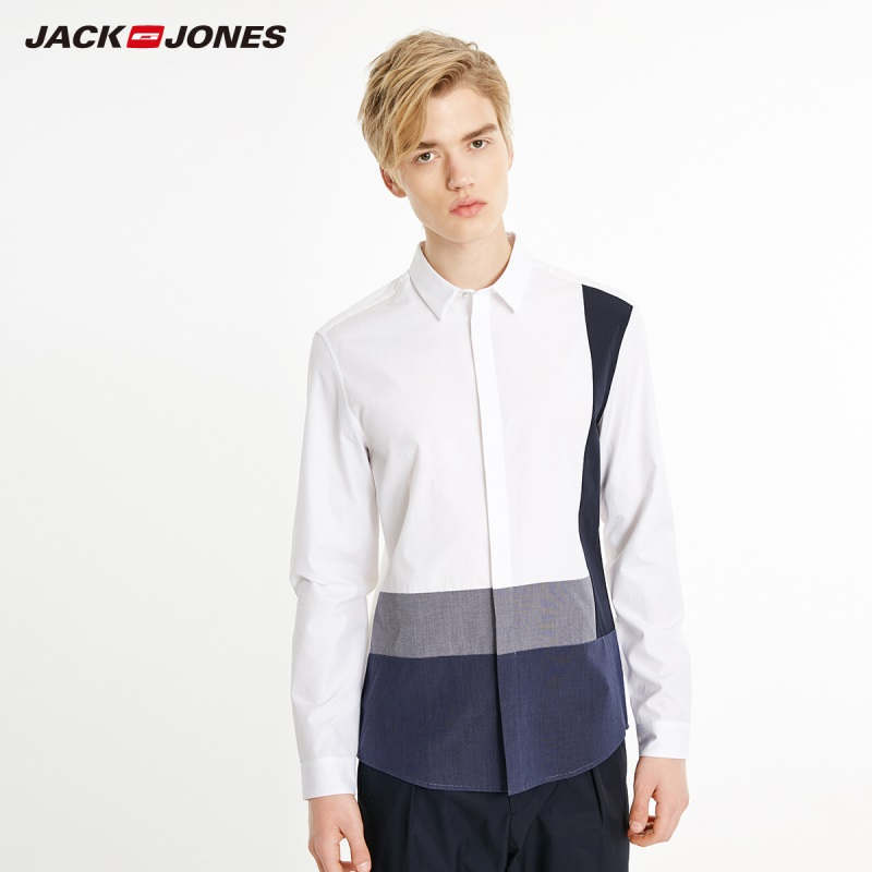 JackJones Men's 100% Cotton Casual Contrasting Straight Fit Shirt Menswear Style| 219105538