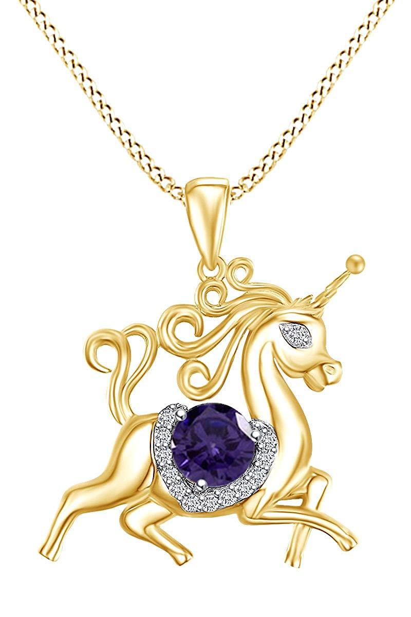 Collier pendentif cheval licorne pour pierres de naissance simulées fête des mères en or jaune 14k sur argent Sterling