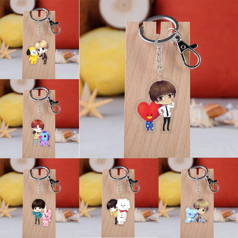 KPOP Bangtan Boys Keychain Korean Band Cartoon Figure Acrylic Pendent Key Ring