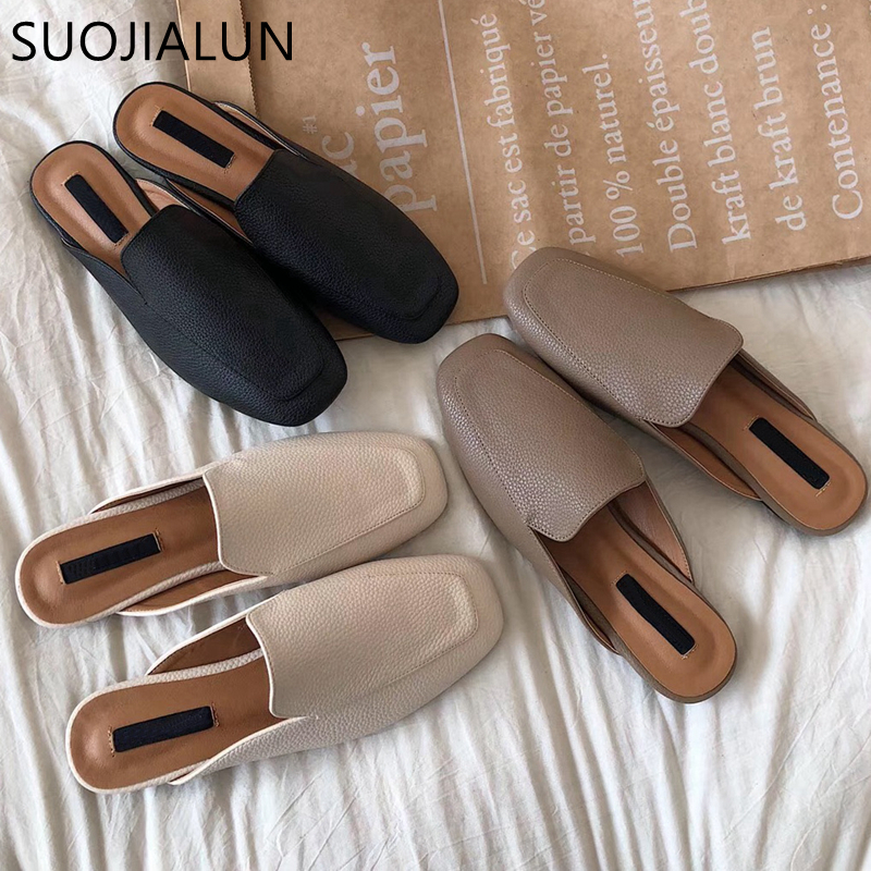 SUOJIALUN Women Mules Slipper High Quality Soft Leather Round Toe Slipper Slip On Outdoor Sandal Causal Flat Heel Slides