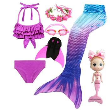 Dzieci ogon syreny dla dziewczynek pływanie Bating garnitur kostium syreny strój kąpielowy może dodać Monofin Fin gogle z Garland syrenka lalka tanie i dobre opinie Zestawy Anime Dziewczyny Biustonosz Szorty Spódnice Mermaid Tail DH37 Kostiumy Poliester Mermaid Tail Costume Mermaid Tail Cospaly