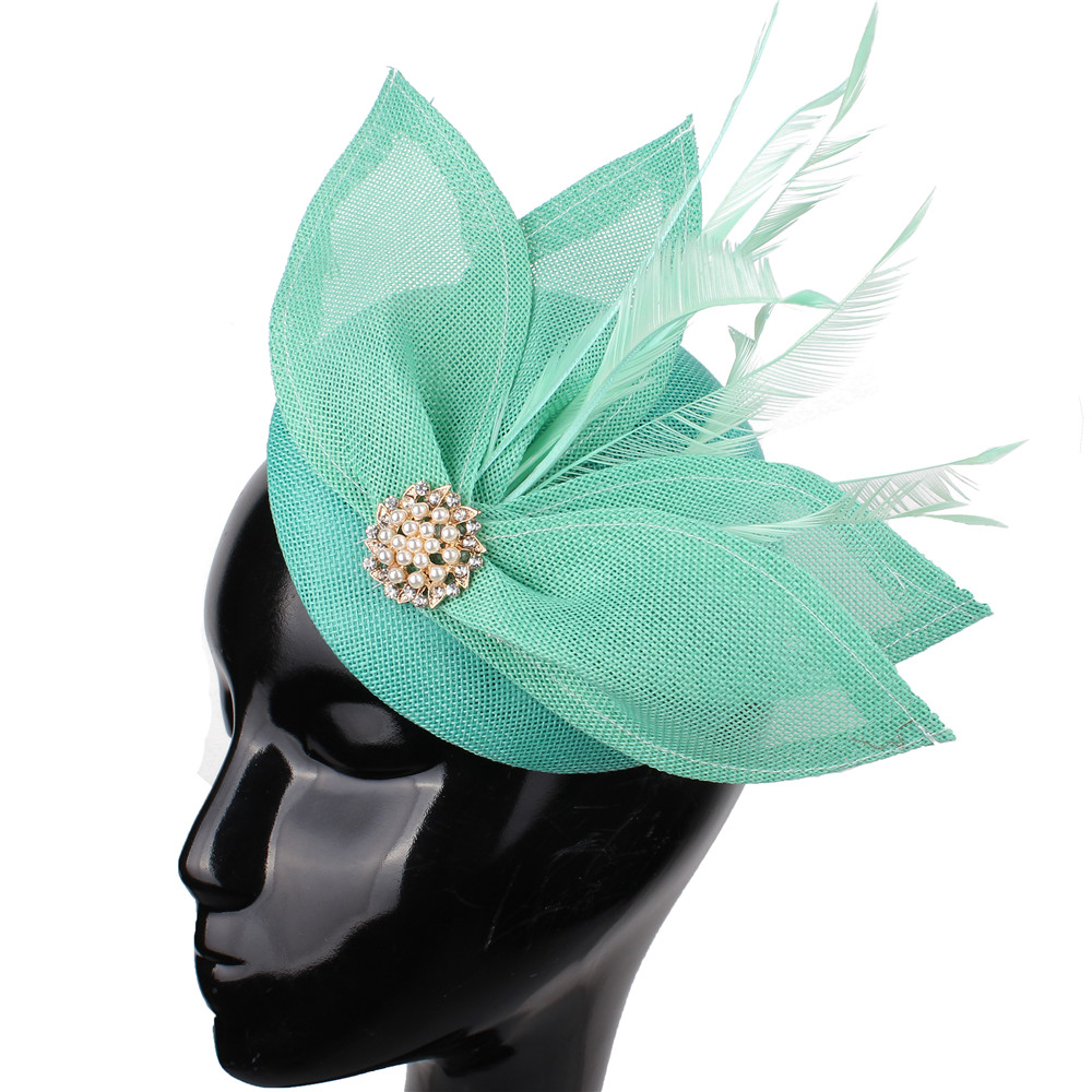 Emerald Green Bridal Imitation Sinamay Fascinators Hats Cocktail Hat Wedding Hair Accessories Occasion Hats NEW ARRIVAL 17colors
