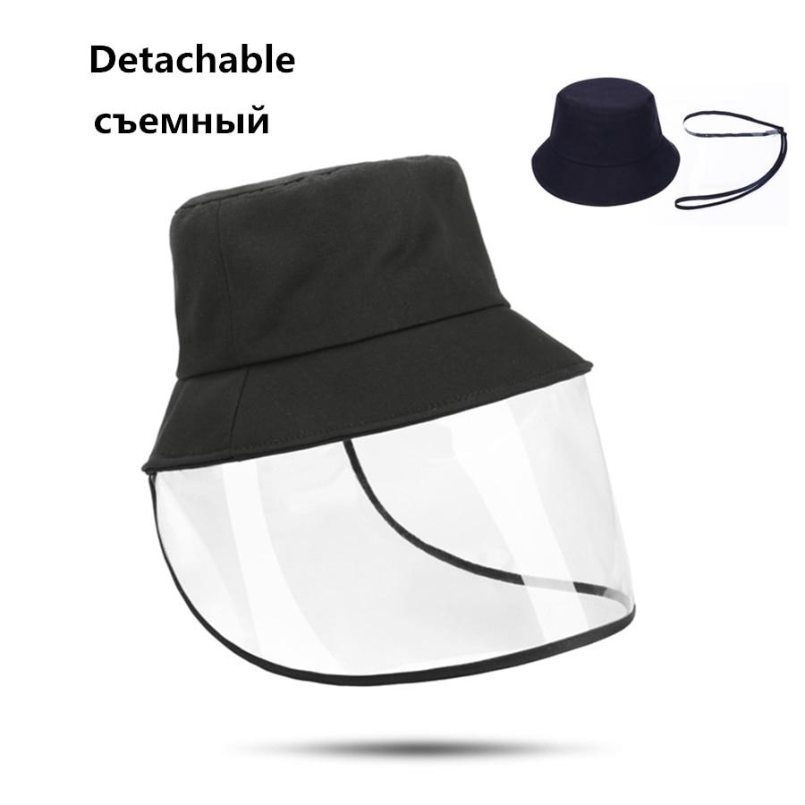New Detachable Anti-Dust Bucket Hats Unisex Men Women Protection Visor Hat Female Anti-fog  Sun Caps Windproof Cap