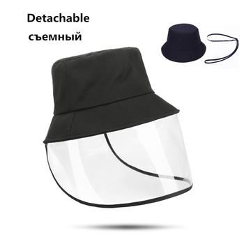 Nowe odpinane przeciwpyłowe kapelusze wiadro Unisex mężczyźni kobiety ochrona czapka z daszkiem damskie przeciwmgielne czapki przeciwsłoneczne wiatroszczelna czapka tanie i dobre opinie Speelk COTTON Dla dorosłych Mieszkanie Stałe H209 Wiadro kapelusze Nowość 55-59 cm 130 g Detachable Anti-Dust Sun Hats Women Men Chlid