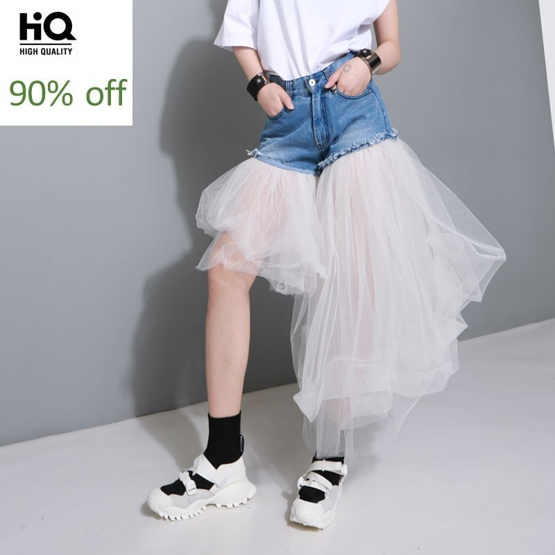2020 Harajuku Summer Denim Shorts Women Irregular Patchwork Mesh Casual High Waist Shorts Womens Jeans Shorts Fashion Blue Black