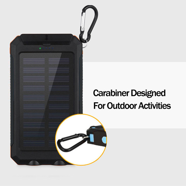 Solar Power Bank 30000mAh Large Capacity Outdoor Travel Portable Solar Panel Charger LED Light Fast Charge Waterproof Charger 5