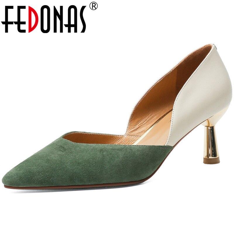 FEDONAS mode couleurs mélangées chaussures pour femmes 2020 plus récent été automne daim cuir talons hauts pompes de fête de mariage chaussures femme