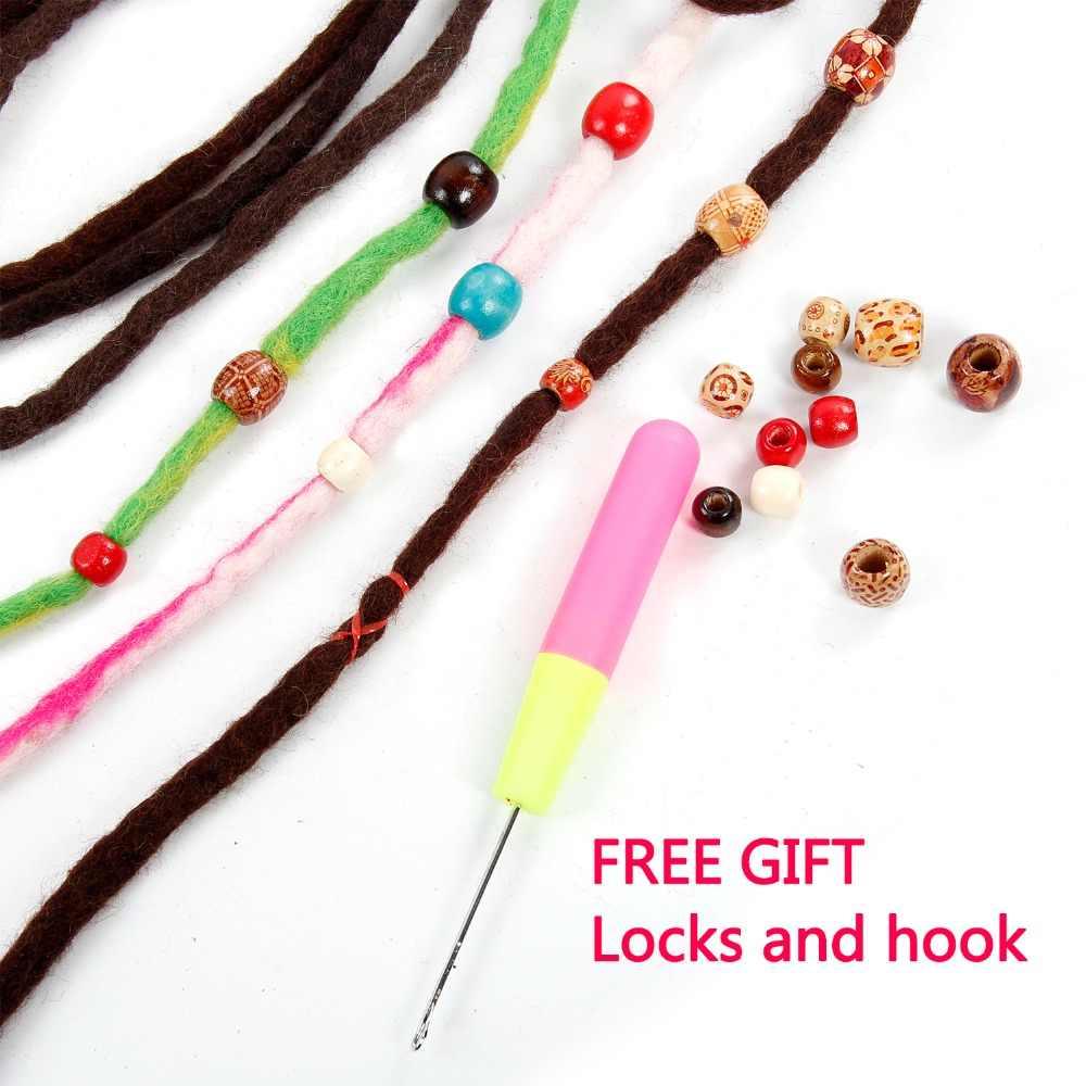 Rastas de lana de ganchillo rastas de lana personalizadas rastas de lana hechas a mano Hippie rastas extensiones de cabello de lana rastas de pelo de Ombre trenzas de ganchillo
