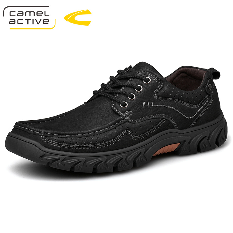 Camel Active New Genuine Leather Men's Shoes Lace-up Man Outdoor Casual Shoes Thick Sole Stitch Non-slip Tide Male Shoes