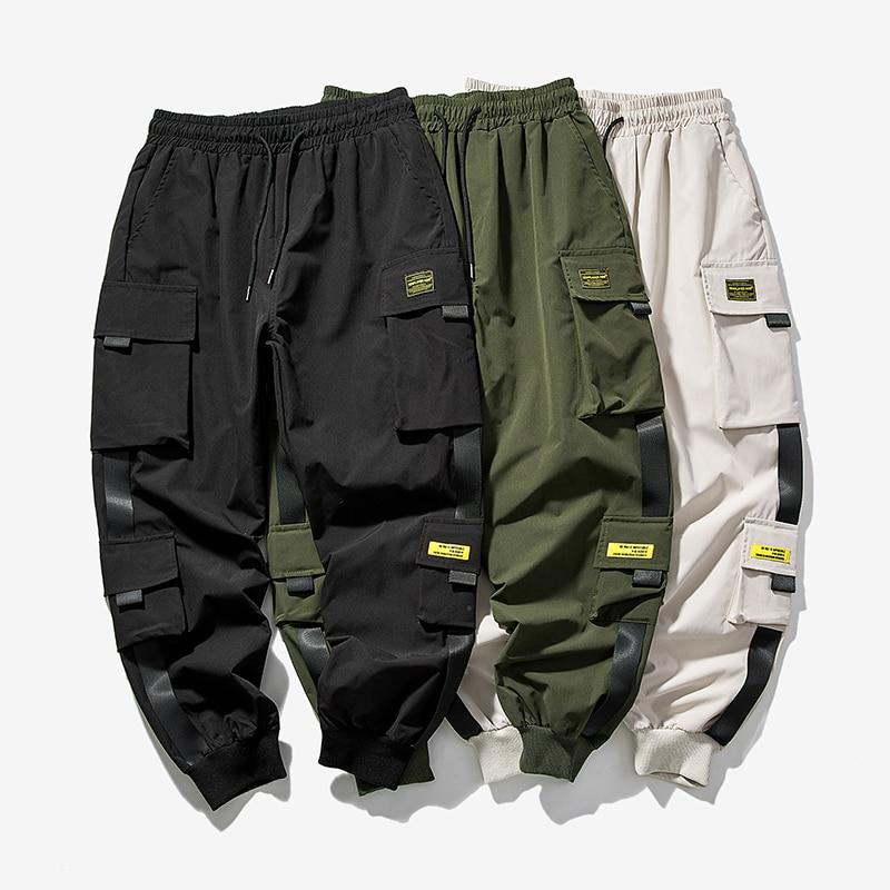 Mens Pants Ribbons Joggers Multi-Pocket Man Casual Hip-Hop S-5XL New