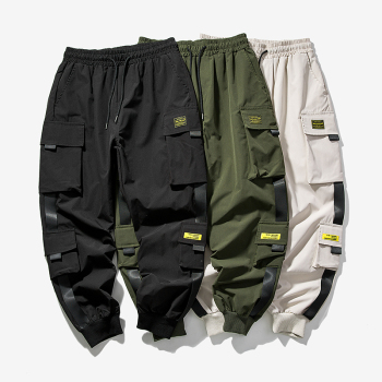 2020 New Hip Hop Joggers Cargo Pants Men Harem Pants Multi-Pocket Ribbons Man Sweatpants Streetwear Casual Mens Pants S-5XL