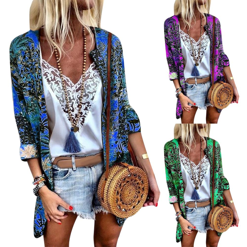 Fashion Women Floral Print 3/4 Sleeve Thin Cotton Cardigan Loose Coat Kimonoo Top