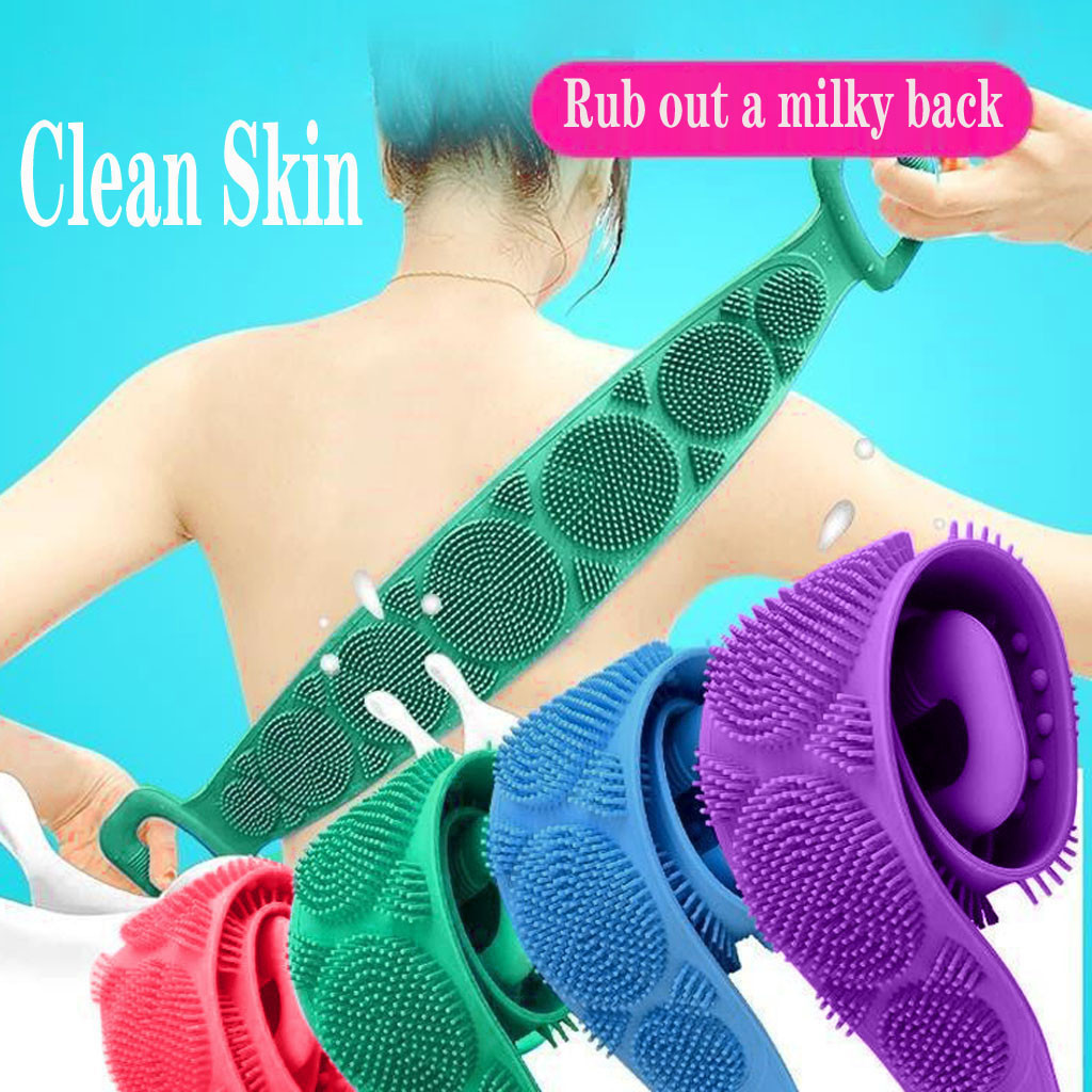 Silicone Magic Brushes Bathe Rubbing Back Belt Body Exfoliating Massage Skin Clean Shower Brushe Rubbing Extended Scrubber Towel