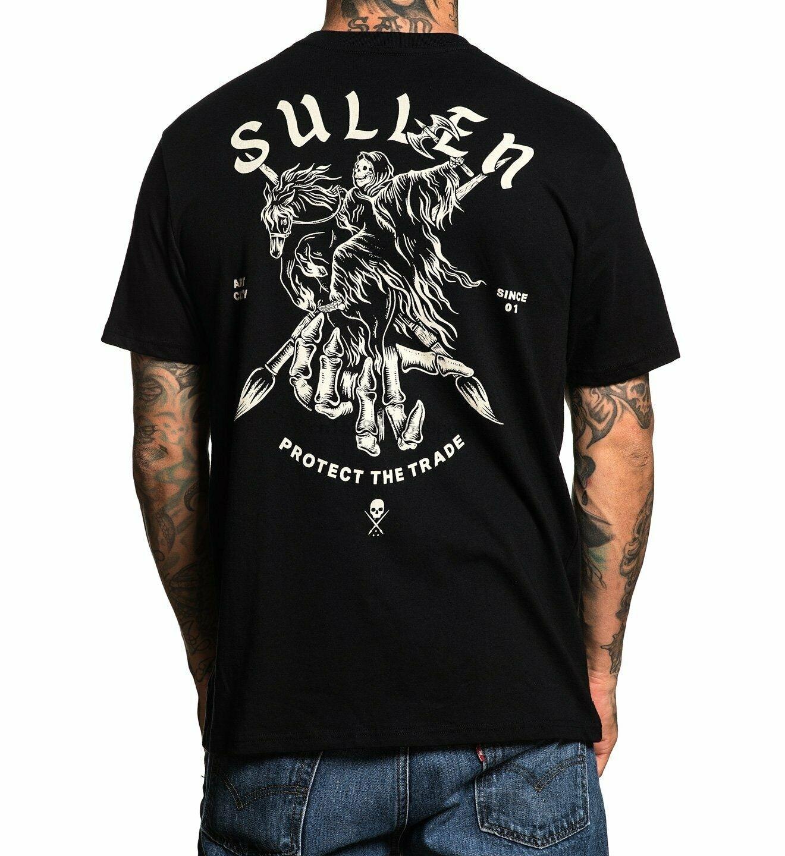 Sullen Mens Des Short Sleeve T Shirt Black Tee T-Shirts Tattooed Clothing(China)