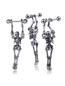 Stud-Earrings Skull Gothic Jewelry Stainless-Steel Human Body-Novelty Bone Fashion Punk