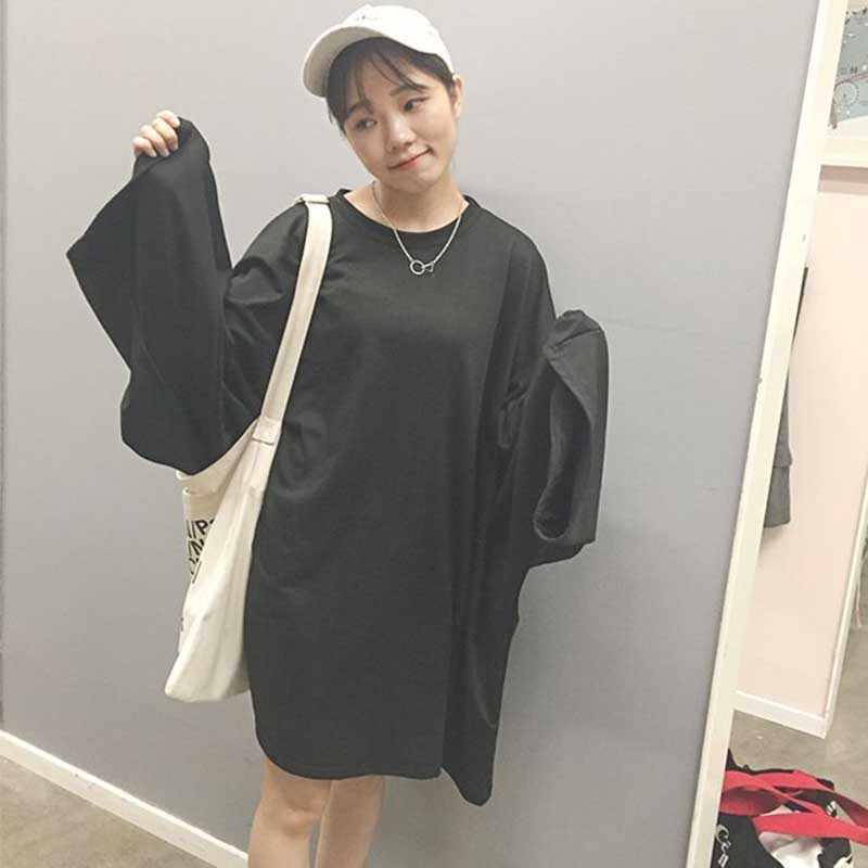 Nicemix harajuku oversize hoodies feminino pullovers sólido batwing manga solta longo hoodies moletom coreano modas preto hoodi