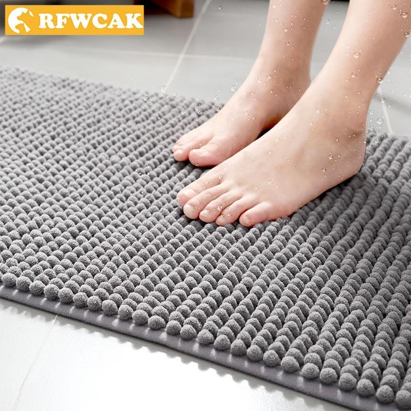 RFWCAK New Modern Home Shape Shenil Non-slip Mat Absorbent Rug Bathroom Bedroom Living Room Kitchen  Hallway Carpet Door Mat